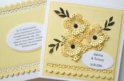 Kartka ŚLUBNA z cytatem - żółta