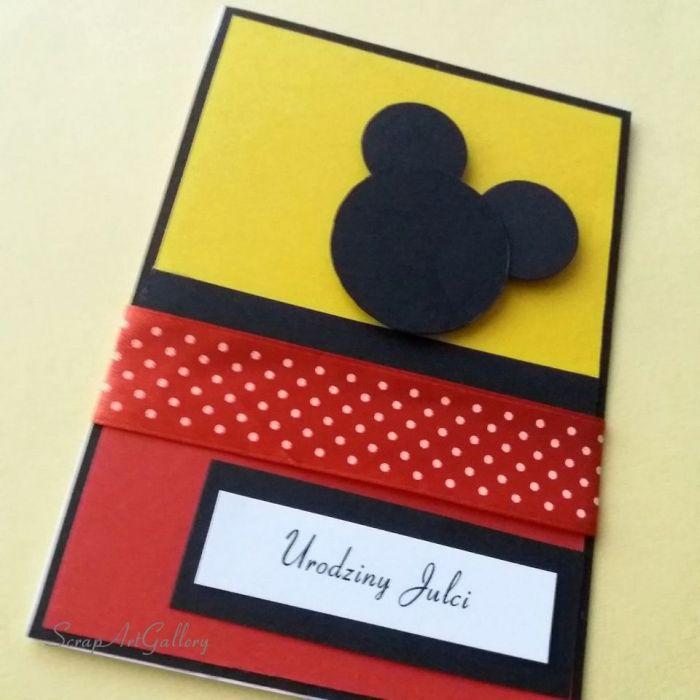 Kartka kolor z Myszką Miki