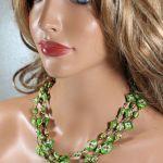 Cloisonne - zielony naszyjnik - Zielone korale