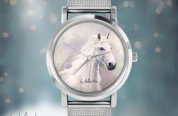 Zegarek, bransoletka - Biały koń