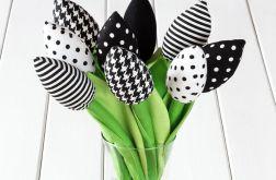 TULIPANY czarno-biały bawełniany bukiet