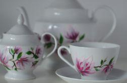 """Zestaw malowany 15 elementów do kawy """"Różowa magnolia"""""""