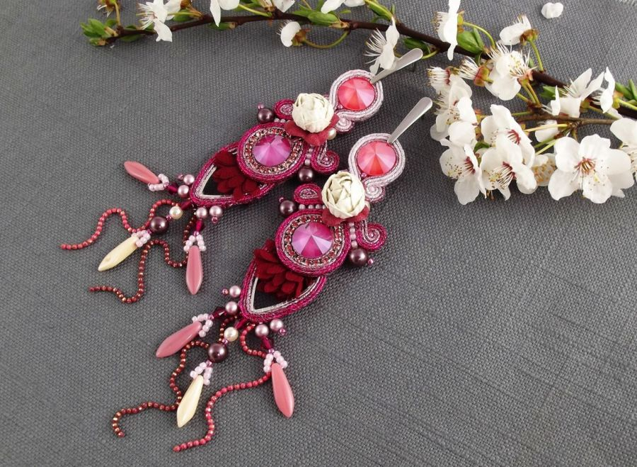 Noxy Fleur kwiatowe sutaszowe kolczyki sutasz