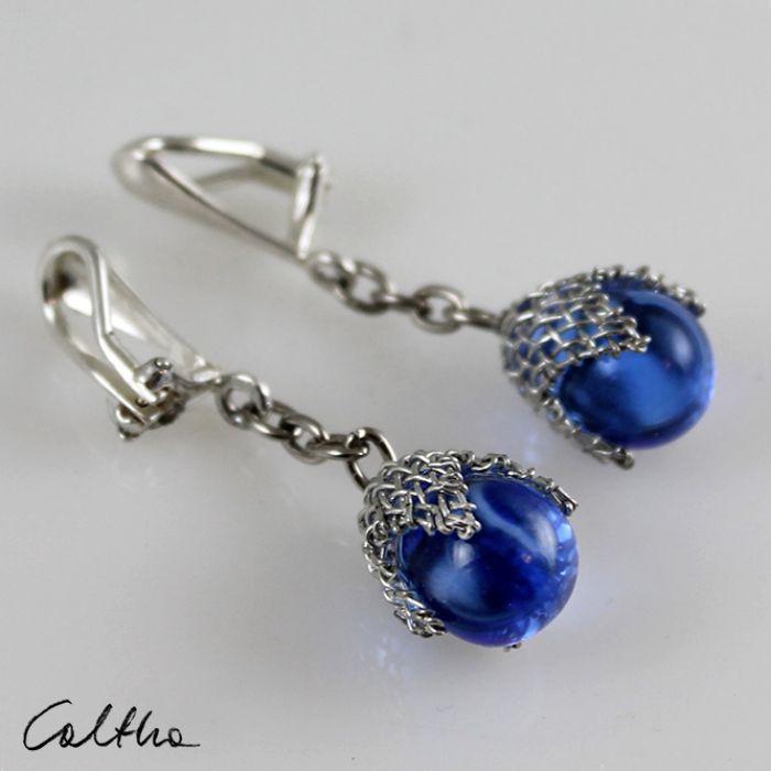 Błękitne w siateczce -  kolczyki - Niebieskie klipsy