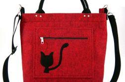 Black cat on red-melange/strap