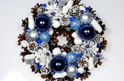 Mały wianek świąteczny biało-niebieski
