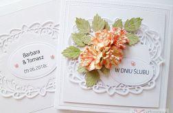 Kartka W DNIU ŚLUBU - pastelowe kwiaty