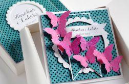 ZESTAW W PUDEŁKU kartka ślubna z motylami