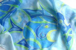 Niebieskie Ryby, jedwabna chusta malowana