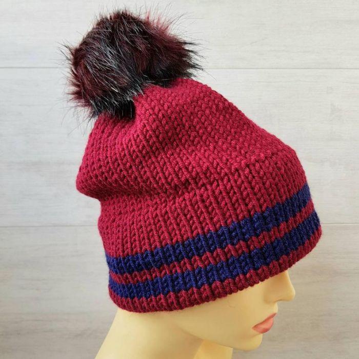 Bordowa czapka z podwójnym rondem - czapka unisez