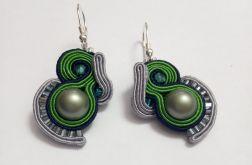 kolczyki sutasz zielone perły Swarovski