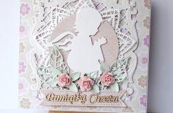 Kartka na chrzest różowa 180808