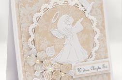 Kartka z aniołkiem na chrzest KCH016