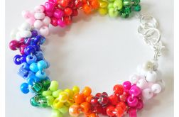 3931 tęczowa kolorowa bransoletka szkło