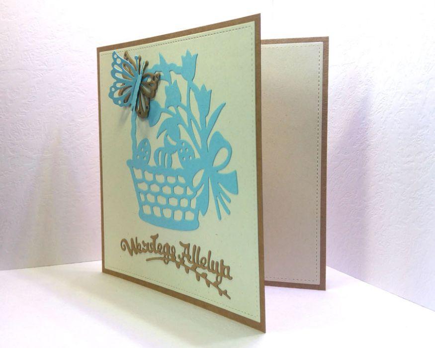 Kartka wielkanocna - niebieski koszyczek nr 1 - do samodzielnego wypisania
