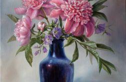 Kwiaty- Piwonie i Dzwonki, ręcznie malowany