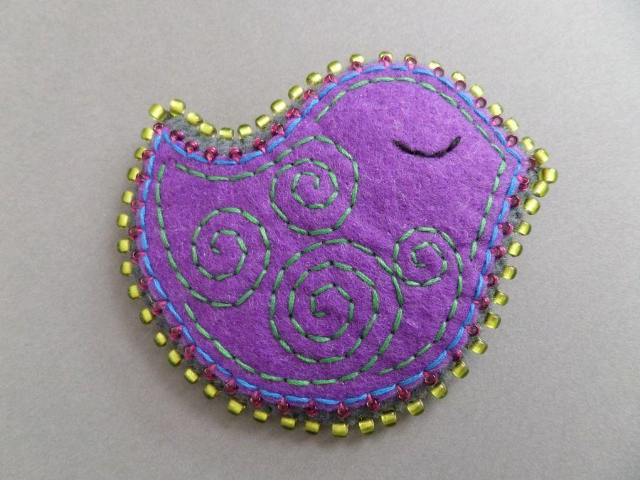 FUN filcowa broszka ptaszek 065
