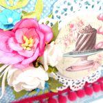 Kartka z tortem turkus z różem