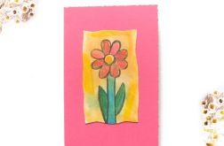 Kartka uniwersalna różowa z kwiatkiem 2