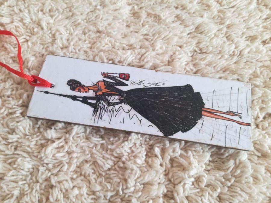 Wieża Eiffla - zakładka do książki - Oryginalna zakładka z damą