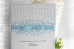 Zaproszenia na chrzest biało niebieskie