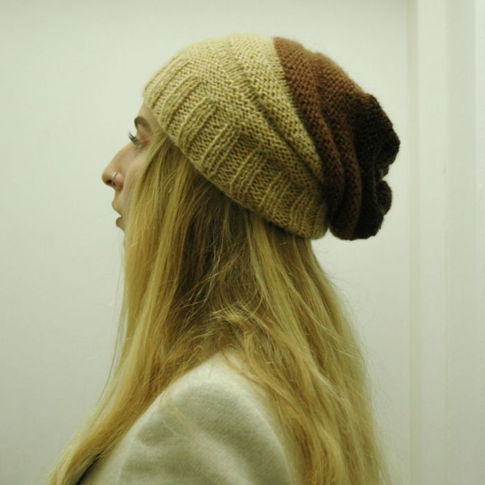 czapka dżdżownica w beżo-brązach