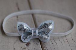 Opaska niemowlęca - Srebrny motylek