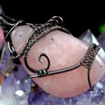 Kwarc Miedziany wisior z kwarcem różowym