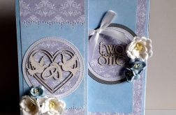 Kartka ślubna wraz z pudełkiem gołąbki