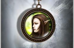 Naszyjnik, medalion - Elf - antyczny brąz - zdobiony