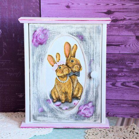 Szafka na klucze - Zakochane króliczki