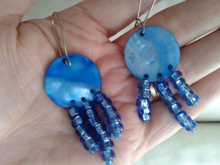 Kolczyki z niebieskiej masy  perłowej