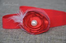 opaska czerwony kwiatek z perełką