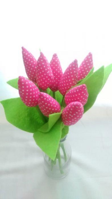 Tulipan 100% bawełna 10szt fuksja