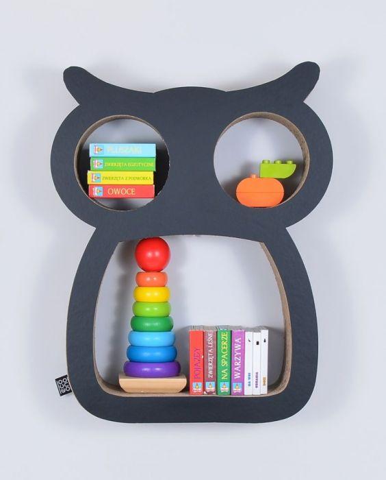 Półka na książki zabawki SOWA | czarny