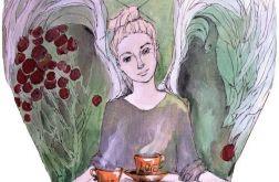 """Anioł z malinówkami"" obraz na drewnie"