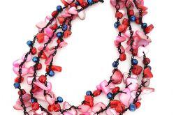 4111 naszyjnik perły koral marmur