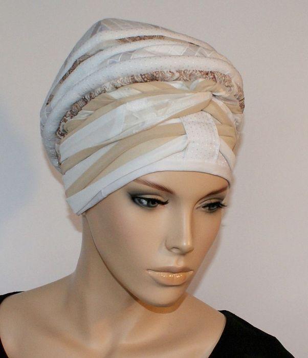 lekki turban CENNY - szarfa zamotana wokół głowy