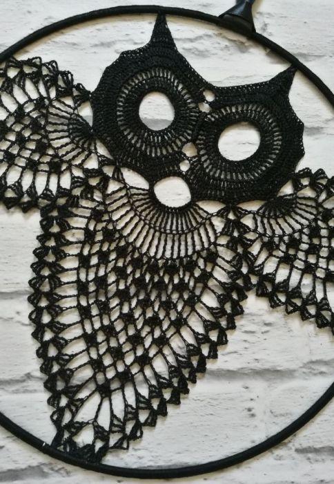 Szydełkowa dekoracja- czarna sowa - boho bohemian ozdoba