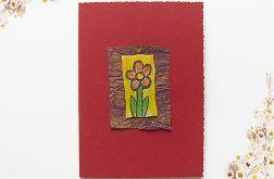 Kartka uniwersalna bordowa z kwiatkiem  1