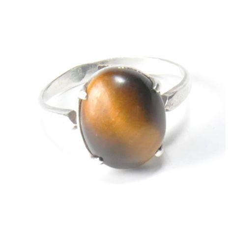 86 pierścionek vintage, tygrysie oko, srebro