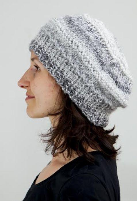 Czapka - beret w odcieniach szarości