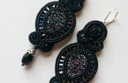 Czarne kolczyki z żywicą i kryształkami