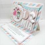 Kartka cukierkowa z sówką UDP 017 - Kartka dla dziewczynki cukierkowa z sówką (3)