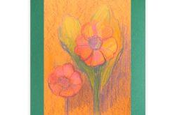 Rysunek kwiaty na ciemnozielonym  tle nr 11