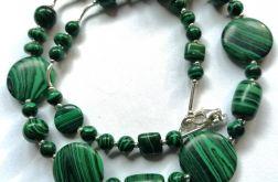 Malachit zielony i srebro, elegancki naszyjni