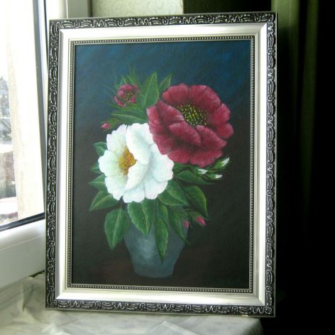 Róże w dzbanie - obraz akrylowy