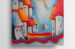Bajkowe miasteczko kotów-obraz akrylowy