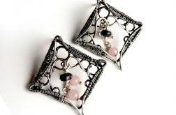 Kolczyki srebrne z kwarcem różowym i jadeitem