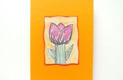 Kartka oranż z kwiatkiem nr 4